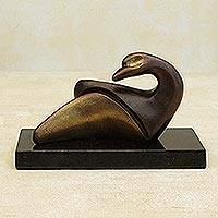 Bronze sculpture, 'Gentle Duckling' - Brazilian Signed Contemporary Duck Sculpture in Bronze