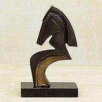 Bronze sculpture, 'Abstract Horse' - Signed Abstract Horse Sculpture in Bronze from Brazil