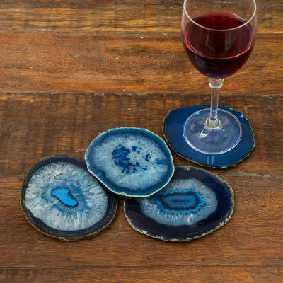Agate coasters, 'Freckles' (set of 4) - Natural Blue Agate Coasters (Set of 4) from Brazil
