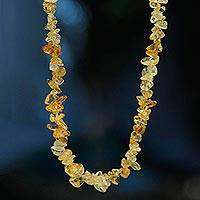 Citrine long beaded necklace, 'Light Caramel' - Brazil Artisan Crafted 33-Inch Beaded Citrine Necklace