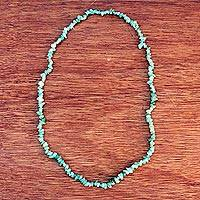 Quartz beaded long necklace, 'Verdant Meadows' - Brazil Artisan Crafted Green Quartz Beaded Long Necklace