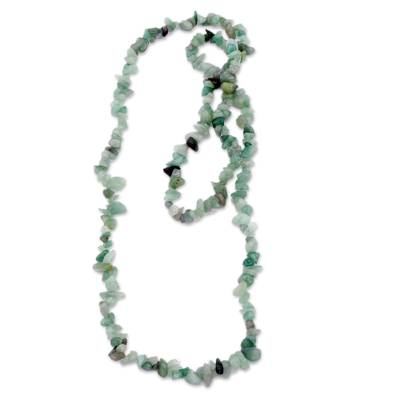 Brazil Artisan Crafted Green Quartz Beaded Long Necklace