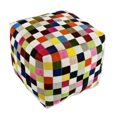 Cowhide ottoman cover, 'Carnaval Chess Cube' - Handcrafted Patchwork Cowhide Ottoman Cover from Brazil