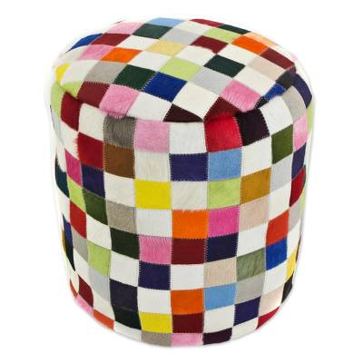 Cowhide ottoman cover, 'Carnaval Chess' - Colorful Brazilian Cowhide Patchwork Ottoman Cover