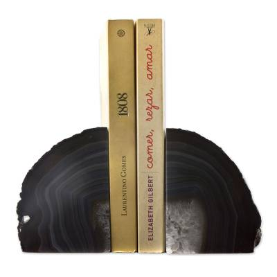 Unique Natural Grey Agate Geode Bookends from Brazil