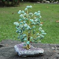 Agate gemstone tree, 'Sweet Green Foliage' - Agate and Amethyst Gemstone Tree from Brazil