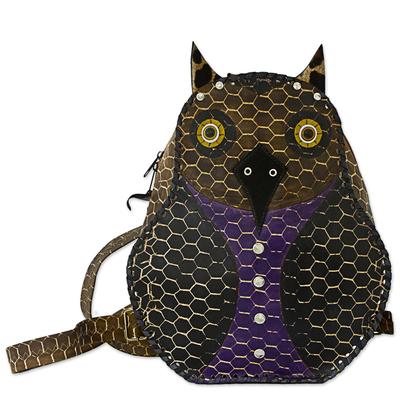 Novica Leather backpack, Owl