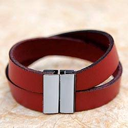 Leather wristband bracelet, 'Stylish Crimson' - Leather Wristband Bracelet Magnetized Clasp from Brazil