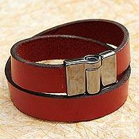 Leather wrap bracelet, 'Chic Crimson' - Leather Crimson Wrap Bracelet Steel Clasp from Brazil