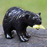 Dolomite figurine, 'American Black Bear' - Handmade Dolomite Figurine Sculpture of American Black Bear