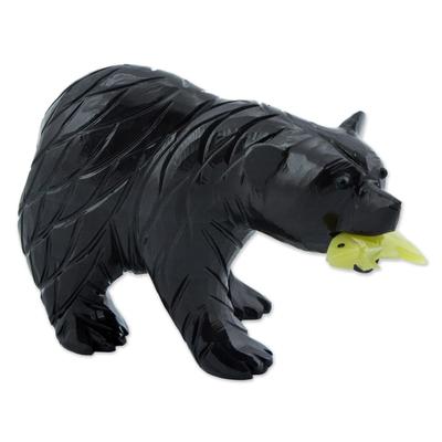 Dolomite figurine, 'American Black Bear' - Handmade Dolomite Figurine Sculpture of American Black Bear