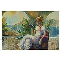 'Lady on the Balcony in the Sun' - Romantic Impressionist Brazilian Portrait of a Woman