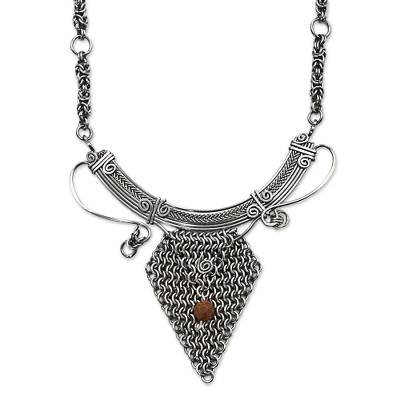 Stainless Steel Goldstone Statement Necklace from Brazil