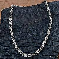 Stainless steel chain necklace, 'Steel Rings' - Hand Made Stainless Steel Chain Link Necklace from Brazil