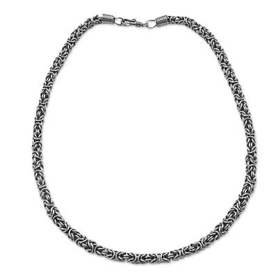 Hand Made Stainless Steel Chain Link Necklace from Brazil