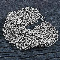 Stainless steel link bracelet, 'Fantasy Bracelet' - Stainless Steel Link Bracelet Mesh from Brazil