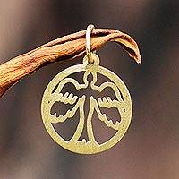 Gold pendant, 'Holy Dove' - 18k Gold Pendant Christian Dove Circular from Brazil