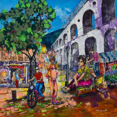 'Carnival in Lapa' - Original Signed Street Scene from Carnival in Rio