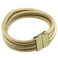 Wristband bracelet, 'Shining Cords' - Faux Leather Cord Wristband Bracelet from Brazil