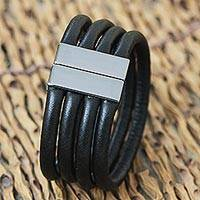 Wristband bracelet, 'Four Turns' - Faux Leather 4 Cord Wristband Bracelet from Brazil