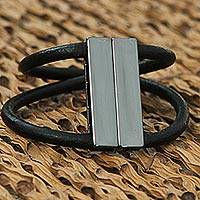 Leather and steel wristband bracelet, 'Black Equilibrium' - Black Leather and Steel Wristband Bracelet from Brazil