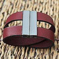 Leather wristband bracelet, 'Red Stripes' - Leather Two Cord Wristband Bracelet Steel Clasp from Brazil