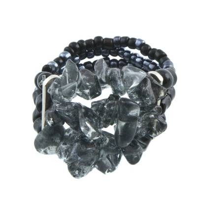 Unique Grey and Black Iolite Cluster Beaded Stretch Ring from Brazil
