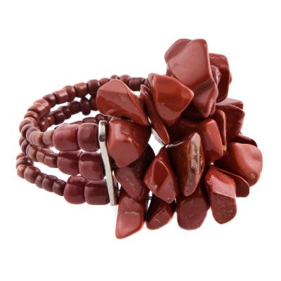 Unique Brazilian Red Jasper Beaded Cluster Stretch Ring