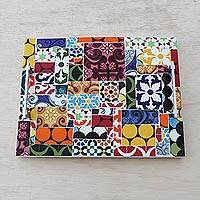Ceramic tile tray, 'World of Colors' - Hand Painted Colorful Tile Tray from Brazil
