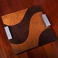 Mahogany and pau ferro wood tray, 'Copacabana Roads' - Mahogany Wood Tray Aluminum Handles from Brazil