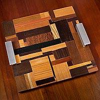 Wood tray, 'World of Rectangles' - Wood Tray with Aluminum Handles from Brazil
