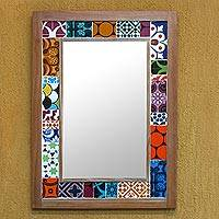 Tiled wall mirror, 'Fantasy Colors' - Brazil Wall Mirror and Frame with Multicolored Ceramic Tiles