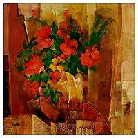 'Vase of Flowers II' - Signed Floral Painting of Brazilian Spring Impressionism