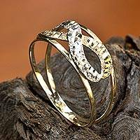 Two-color gold band ring, 'Ad Infinitum' - White and Yellow 14k Gold Infinity Symbol Band Ring