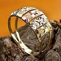 Featured review for Tri-color gold cocktail ring, Floral Horizon