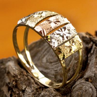 Tri-color gold cocktail ring, 'Floral Horizon' - Flower Motif White Rose and Yellow 10k Gold Ring