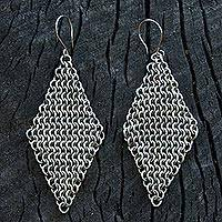 Stainless steel dangle earrings, 'Linked Rhombi' - Stainless Steel Link Chain Dangle Earrings from Brazil