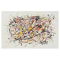'For Pollock III' - Brazilian Multicolor Abstract Expressionism Drip Painting