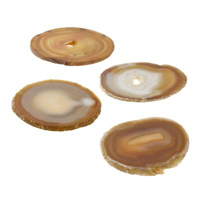 Natural Color Brown Agate Coasters (Set of 4) from Brazil