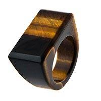 Tiger's eye signet ring, 'Piece of Earth' - Tiger's Eye Unisex One Piece Signet Ring from Brazil