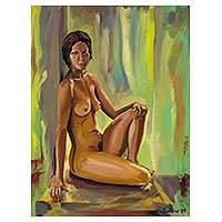 'She' - Brazilian Artistic Nude Portrait in Greens and Browns