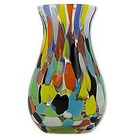 Art glass vase, 'Impressionist Spring' - Hand Blown Multi-Colored Murano Inspired Art Glass Vase