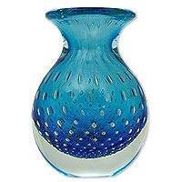 Art glass vase, 'Ocean Inspiration' - Artisan Crafted Murano Inspired Blown Art Glass Vase in Blue