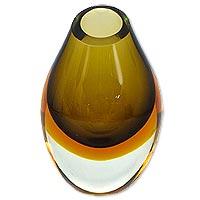 Art glass vase, 'Olive' - Murano Inspired Earthtone Brazilian Blown Art Glass Vase