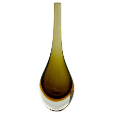 Art glass vase, 'Earth Tone' - Artisan Crafted Earthtone Blown Art Glass Vase from Brazil