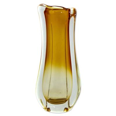Hand blown art glass vase, 'Golden Ombre' - Amber Ombre Hand Blown Art Glass Vase from Brazil