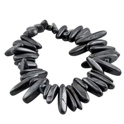 Hematite Beaded Stretch Bracelet from Brazil