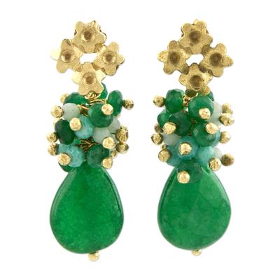 Gold plated jade dangle earrings,