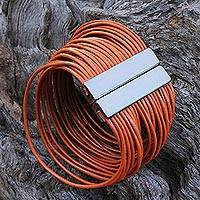 Leather wristband bracelet, 'Burnt Orange Wires'