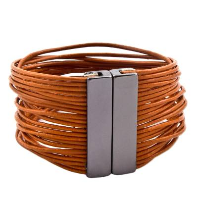 Leather wristband bracelet, 'Burnt Orange Wires' - Orange Leather Magnetic Wristband Bracelet from Brazil